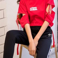 Adidas Fashion Casual Letter Round Neck Sportswear Fashion Two-Piece Suit Clothes