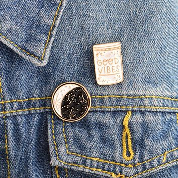 2pcs/set Constellation Day and night Moon GOOD VIBES Bottle Brooch Pins Button Denim jacket Coat Collar Pin Badge Jewelry Gift