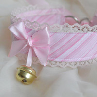 Candy baby - fairy kei kawaii cute neko lolita kitten pet play collar with golden bell and lace - pastel pink
