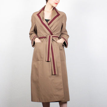 Vintage 70s Etienne Aigner Trench Coat Camel Tan Burgundy Striped Designer Trench Coat Belted Trench Coat Jacket Raincoat S Small M Medium 8