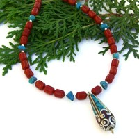 Tibetan Pendant Handmade Necklace, Red Coral Turquoise Gemstone Artisan Jewelry