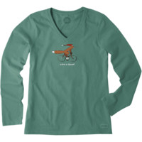Women's Fox on a Bike Long Sleeve Crusher Vee