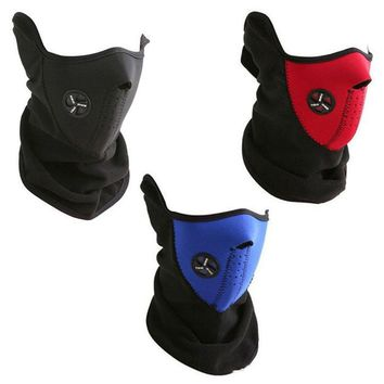 Winter Snowboard Ski Half Face Mask Soft Fleece Neck Ear Warmer Velcro Adjustable Close Biker Cycling Facemask