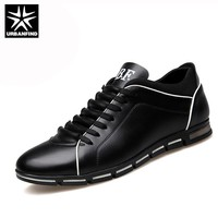 URBANFIND 2017 Men Shoes PU Leather Casual British style Lace up Brown Black Men Dress Shoes Men leather shoes EU 37-50