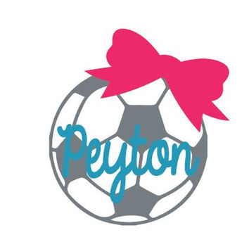 "3"" Soccer Ball Name and Bow Car Sticker Vinyl Decal"