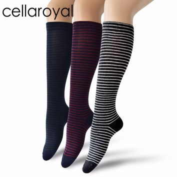 Cellaroyal 1Pair Girls Knee High Socks Multi Colorful Striped Casual Over the Knee Cotton Socks
