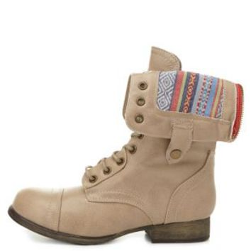 Bamboo Aztec-Lined Fold-Over Combat Boots by Charlotte Russe - Beige