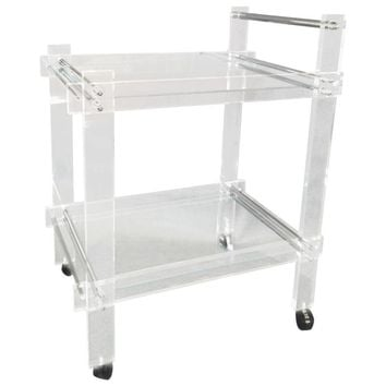 Pre-owned Mid-Century Lucite and Chrome Bar Cart