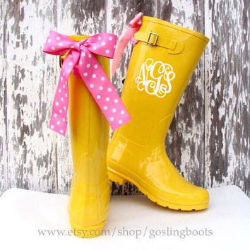Custom Monogrammed Yellow Gloss Rain Boots with Pink Polka Dot Bows