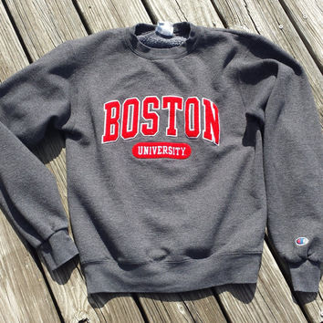 Vintage 1980s BOSTON University Women's Sweatshirt by Champion - Appliqued Lettering - SZ XS