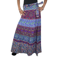 Mogulinterior Casual Wrap Skirt Ethnic Blue Red Print Cotton India Long Hippy Wrap Around Skirts