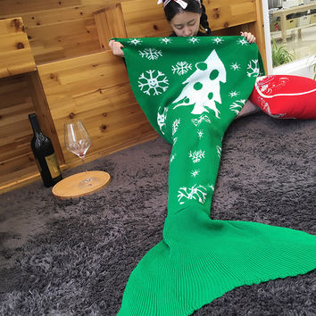 Knitted Mermaid Tail Blanket Handmade Crochet Mermaid Blanket Kids Throw Bed Wrap Super Soft Sleeping Bed [9595948111]