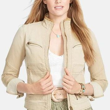 Plus Size Women's Lauren Ralph Lauren Leather Trim Denim Jacket,