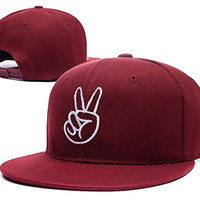 ZZZB Peace Sign Hand Logo Adjustable Snapback Embroidery Hats Caps - Red