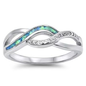 Sterling Silver Tri Infinity Knot Promise Ring 6MM Blue Lab Opal and CZ