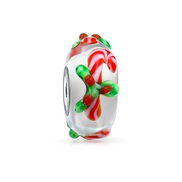 Red Candy Cane Peppermint Murano Glass Sterling Silver Bead Charm