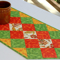 Fall Table Runner, Quilted Autumn Table Topper, Orange Green Table Runner, Autumn Leaves, Table Quilt, Quiltsy Handmade
