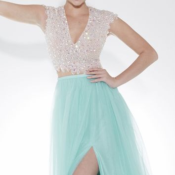 Beaded Slit Gown by Tiffany Designs