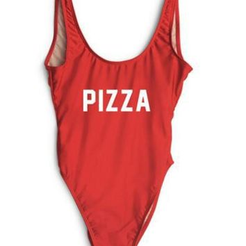 PIZZA Tank Bodysuit Red Skinny Leotard Women Sexy Club Backless Summer Jumpsuits 2017 New Scoop Neck Sleeveless Cami Rompers