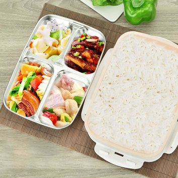 1.8L Stainless Steel Lunch Boxs Microwave Bento Box Heating Insulation Dinnerware
