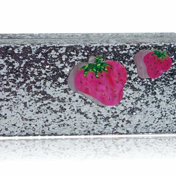 Strawberry Silver Glitter Box Clutch
