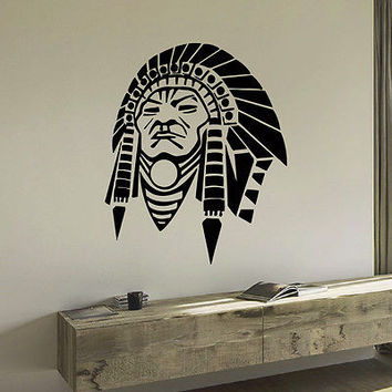 WALL DECAL VINYL STICKER PEOPLE NATIVE AMERICAN INDIAN MAN TRIBAL DECOR SB893