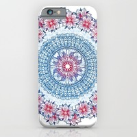 Red, Blue & White Floral Medallion iPhone & iPod Case by Micklyn