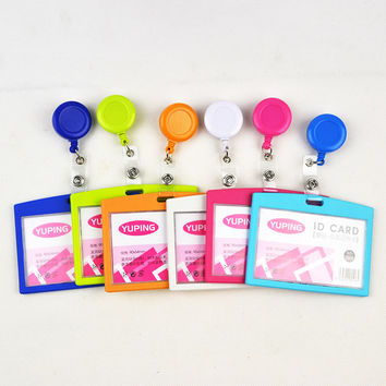 1pcs Candy Color Retractable ID Badge Reel For Ski Pass ID Bus Card Case Badge Holder Horizontal Style Office School Supplies