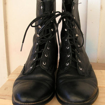 Vintage Laredo Roper Boots / Size 10 M Black Ankle Lace Up Boots / Cowgirl Western Black Leather Ropers / Black Grunge Boots