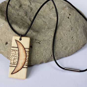 Wood Crescent Moon Necklace Black Leather Cord Lunar Pendant Jewelry