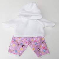 Clothes White Hoodie & Lavender Flower Flannel Pants Handmade For Bitty Baby 15""