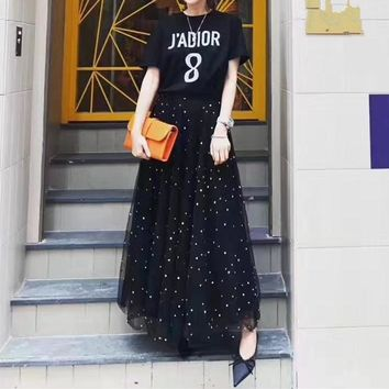 """Dior"" Women Temperament Casual Fashion Short Sleeve Letter Print T-shirt Gauze Long Skirt Set Two-Piece"