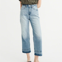 Womens High-Rise Wide Leg Cropped Jeans | Womens Bottoms | Abercrombie.com