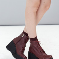 Leather Platform Wedge Boot Burgundy
