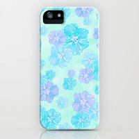 Blossoms Aqua Blue Mint iPhone & iPod Case by Lisa Argyropoulos