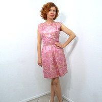Vintage 1940s Brocade Dress Mollie Parnis Pink Sparkle Gold and Silver Silk  dress Bow back Cocktail Pin-up Mini dress Small