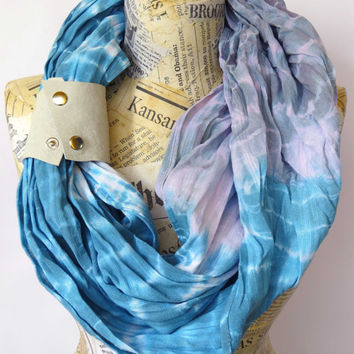 Cotton Infinity Scarf with Leather Cuff, Blue Violet Gray Hand Painted Scarf, Shibori Long Scarf, Hand Dyed Woman's Scarf