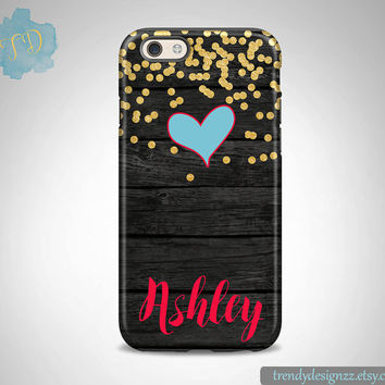 iPhone case, Personalized iPhone case iPhone 6 case 6 plus Samsung case S6 Edge S5 S4, Faux Wood Case Gold Confetti Blue Heart (30)