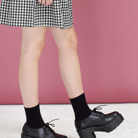 Leather Chunky Heel Brogue Black