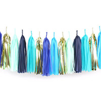 DIY Tassel Garland Kit - Blue Party - Navy Blue, Mint, Light Blue Gold Paper Room Wedding Shower Tassle Decor Balloon Tail Baby Boy Reveal