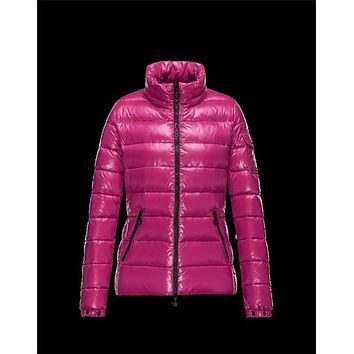 Moncler Bady classic Detachable Hood Pink Jackets Lacquered Nylon Womens 41224540GR