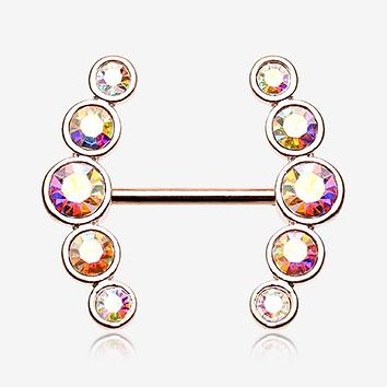 A Pair of Rose Gold Sparkle Ray Multi-Gem Nipple Ring