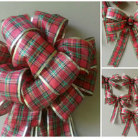 Plaid Christmas Tree Topper Ornament Bow Set- Christmas Tree Bow Decorations-Large Christmas Bow-Wreath Bow- Mailbox Bow-Mantel Bow-Gift Bow