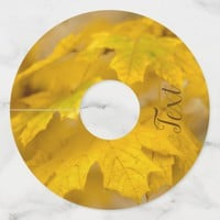 Yellow autumn maple leaves. Add you text or name. Wine Glass Tag