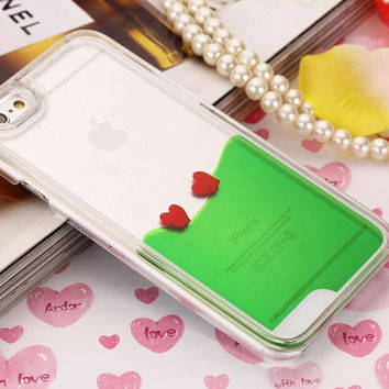 Heart Dynamic Green Liquid Glitter Sand Quicksand Star Bling Clear iPhone case Phone Case