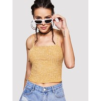 Rib Knit Crop Cami Top Ginger