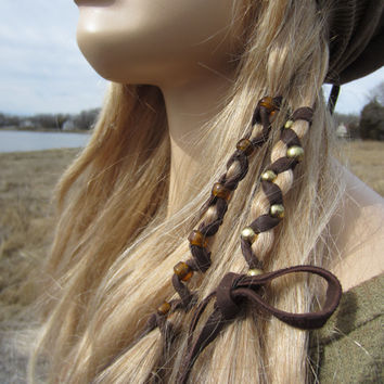 2 Bohemian Style Hair Wraps Ponytail Holders Leather Feather Fringe Hair Extensions