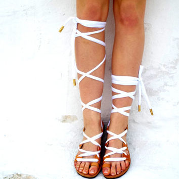 "White or Black metalic Leather Sandals, lace up Sandals, Spartan Greek Sandal, barefoot, Genuine leather shoes, 'Naida"" Summer shoes, Beach"