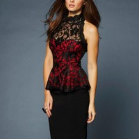 Lipsy All Over Lace Peplum Top