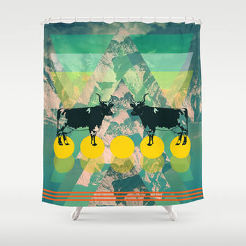 cows are dreaming of funky mountains Shower Curtain by AmDuf